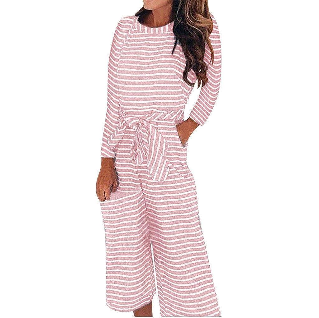 Rmeioel Women Long Sleeve Round Neck Pants Stripe Ladies Leotard Jumpsuit Rompers