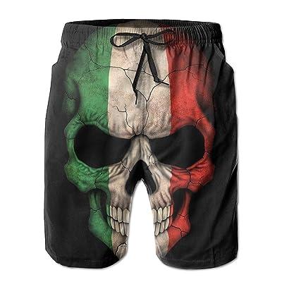 Dark Italian Flag Skull Art Custom Young Men Swimsuit Trunks Short Classical Quick Dry Water Slides