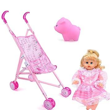 H Cochecito de muñeca para niños, Juguete de muñeca con cochecito, Muñeca