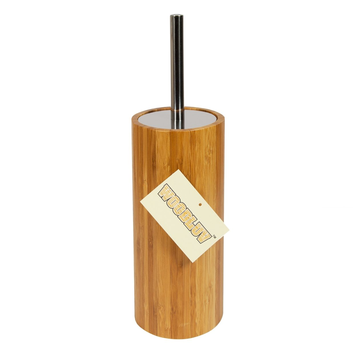 Woodluv Round Natural Bamboo Wood Toilet Brush /& Holder