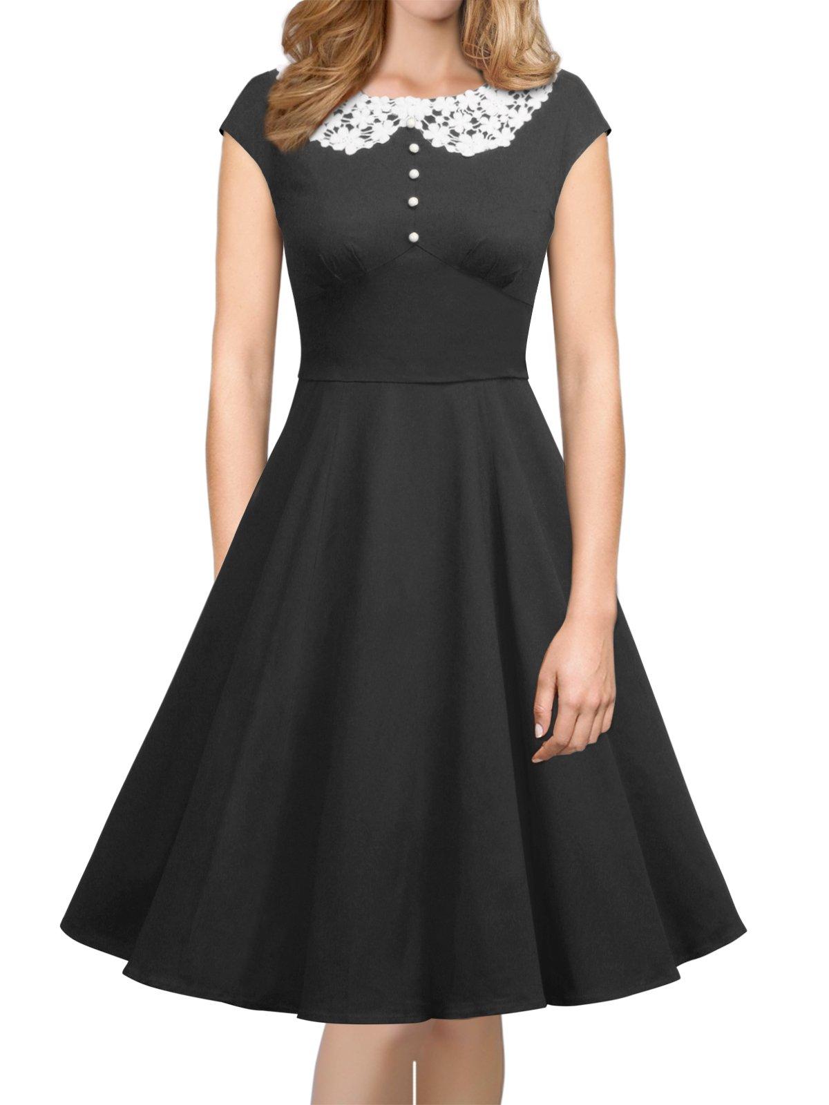 iLover Womens Classy Vintage Audrey Hepburn Style 1940's Rockabilly Evening Dress,Black,X-Large