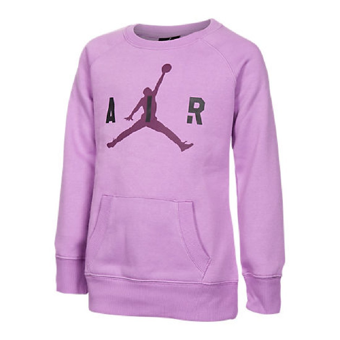 Girls' Jordan Big Air Crew Sweatshirt Fuchsia Glow/Mulberry/Black Size 6X
