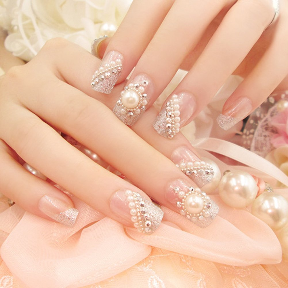 Amazon.com : Silver False Nails Long Full Cover Nail Tips Nail Art Accessories (24pcs) : Beauty