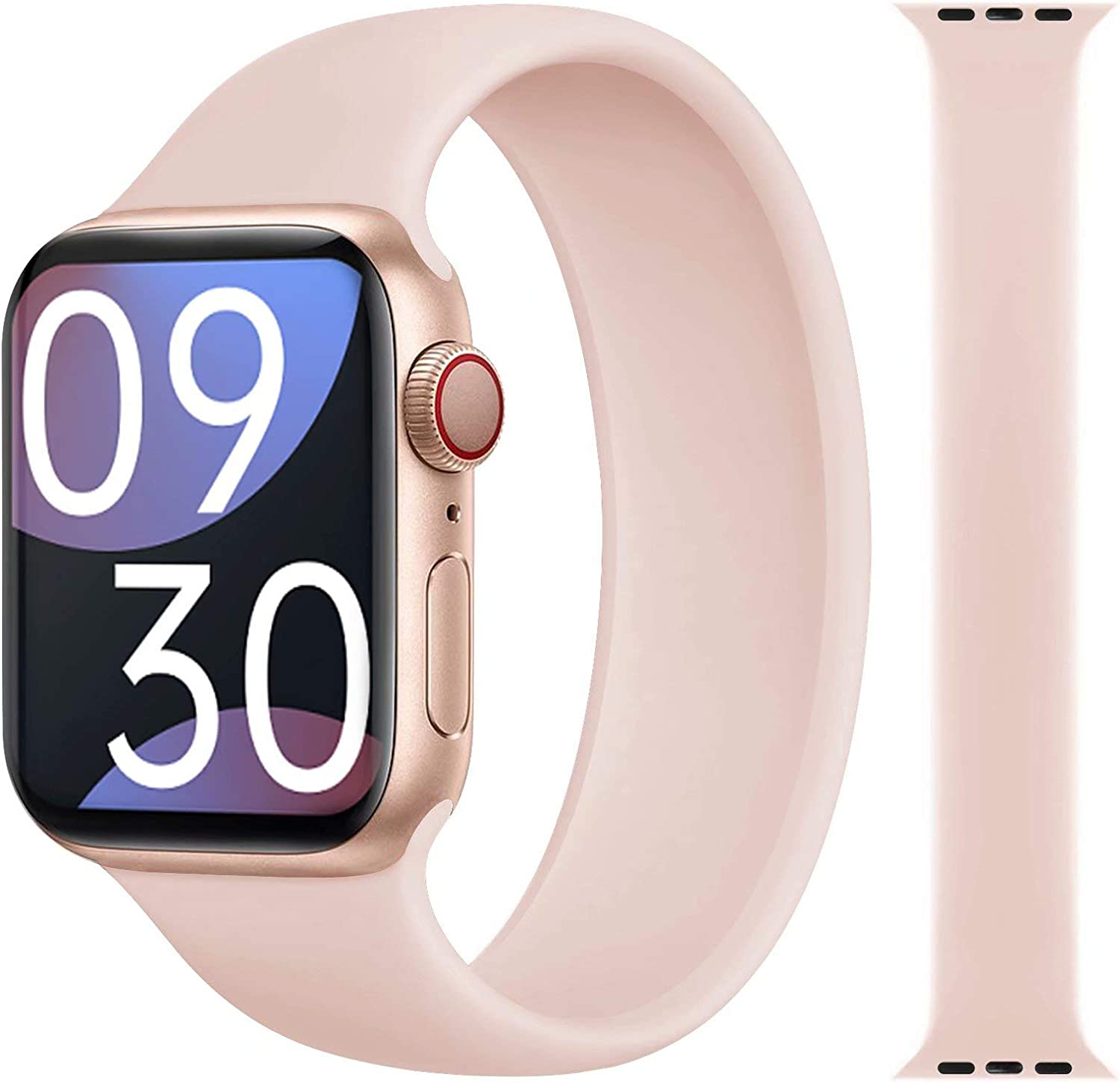 LAST POSH STAR Solo Loop Band Compatible with Apple Watch 38mm 40mm Latest Stretch Liquid Silicone Soft Solo Loop Sport Band, No Buckles or Clasps, Compatible with iWatch Series 6/SE/5/4/3/2/1