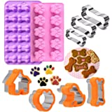 Dog Bone Cookie Cutter,Dog Treat Molds,Stainless Steel Paw Cookie Cutters Set,Including Puppy and Dog House Dog Bone shapes a