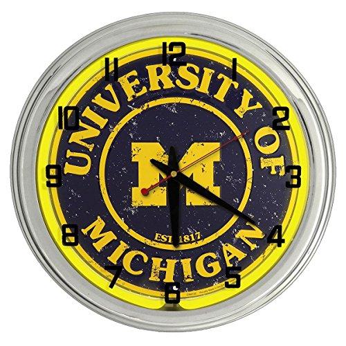 University of Michigan Wolverines Yellow Neon clock from Redeye - Yellow Neon Clock