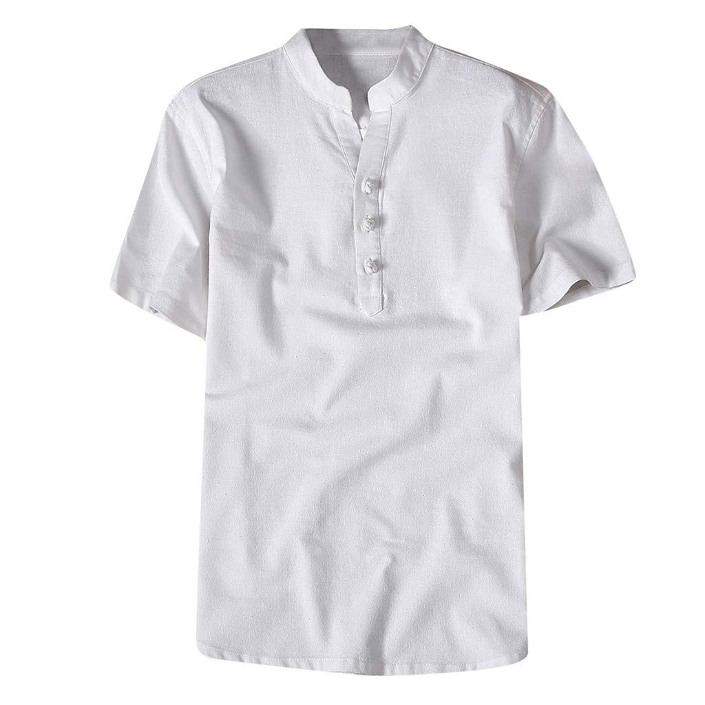 Shirt for Men, F_Gotal Men's T-Shirts Fashion Summer Short Sleeve Retro Chinese Style Linen Henley Tees Blouse Tops White