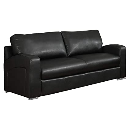 Monarch Specialties I 8502BK Bonded Leather Love Seat, 66