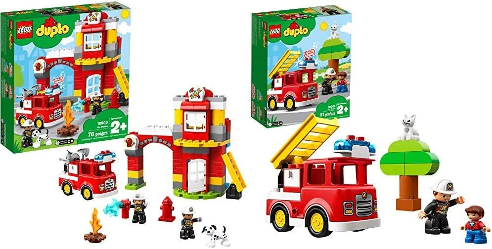 LEGO DUPLO Town Fire Station 10903 Building Blocks (76 Pieces) DUPLO Town Fire Truck 10901 Building Blocks (21 Pieces)