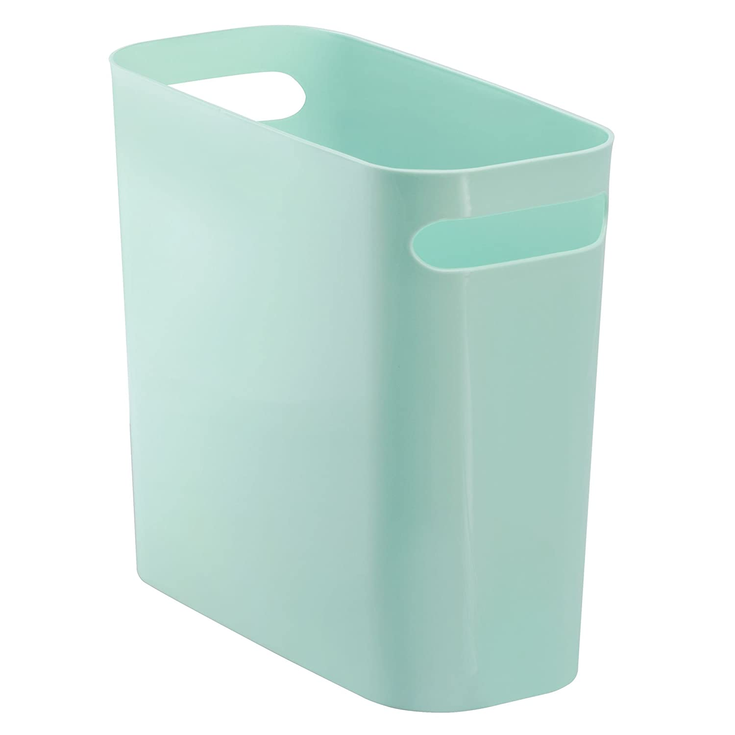 InterDesign Una Rectangular Trash Can with Handles, Waste Basket Garbage Can for Bathroom, Bedroom, Home Office, Dorm, College, 10-Inch, Mint Green