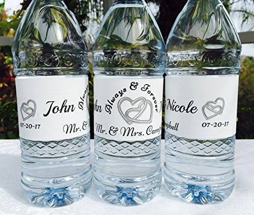 20 Personalized DOUBLE SILVER HEARTS Wedding Themed Waterproof Water Bottle Labels/Stickers, Make Your Own Great Party (Make Your Own Water Bottle Labels)