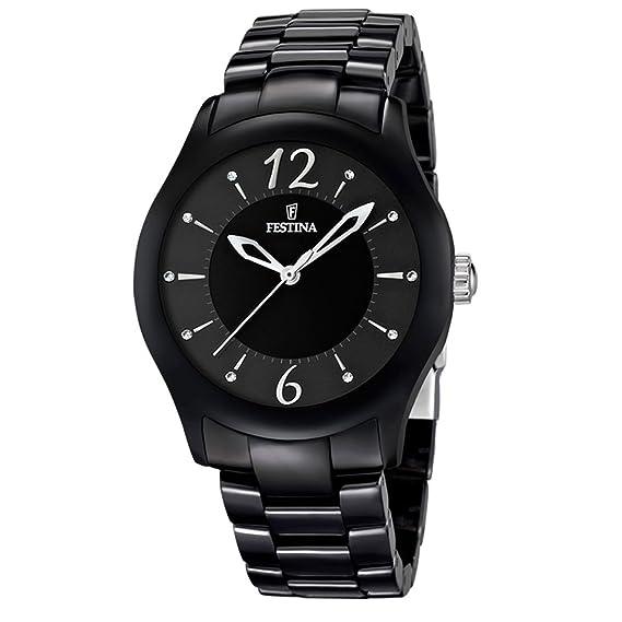FESTINA F16638/2 - Reloj analógico de cuarzo unisex con correa de cerámica, color negro: Amazon.es: Relojes