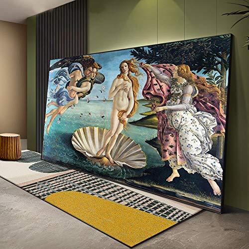 PLjVU El Nacimiento de Venus, Famosa Pintura al oleo renacentista, Copia de Botticelli, impresion artistica, Mural clasico, Cuadros sobre Lienzo-Sin marco40X60cm