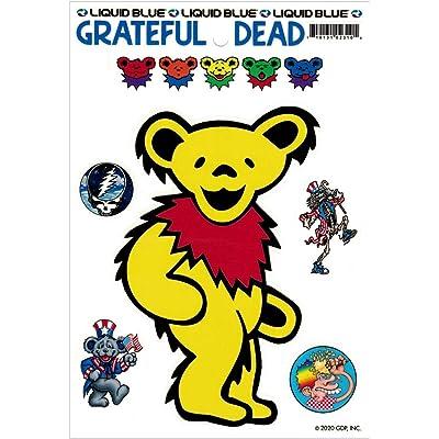 Liquid Blue Grateful Dead Yellow Dancing Bear - Bumper Sticker/Decal: Automotive