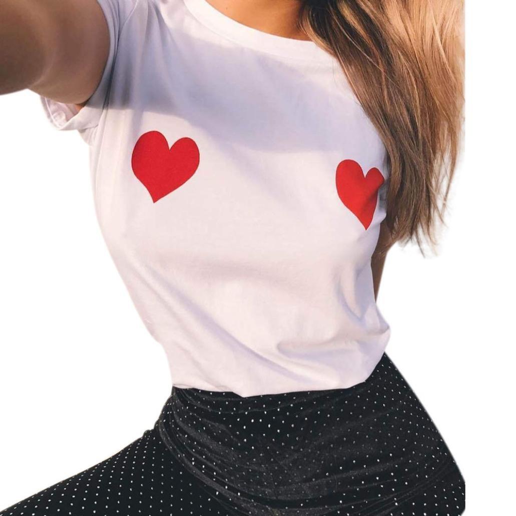 FEITONG Mujeres Algodón Verano Casual manga corta blusa Blusa Impresa Camiseta Casual Tops (Blanco, ...