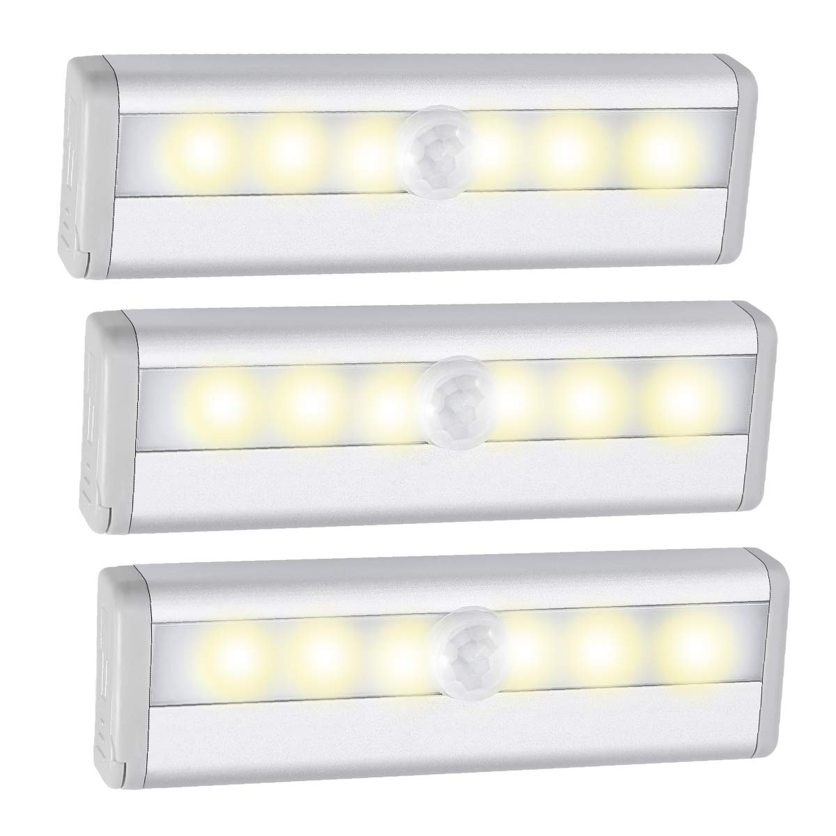 AMIR Motion Sensing Closet Lights, 6 LED Battery Operated Wireless Night Light for Cabinet, Wardrobe, Stairs, Step Light with Magnetic Strip (Warm White - 3 Pack)