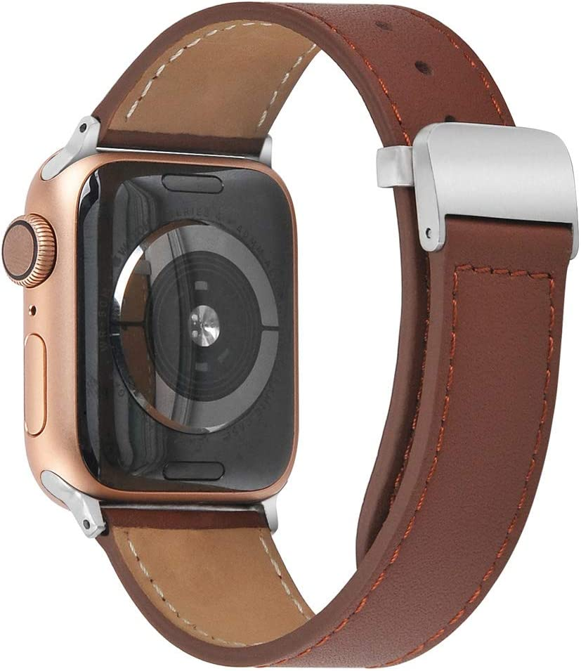 hooroor Leather Bands Compatible Apple Watch Band 38mm 40mm 42mm 44mm Replacement Strap Bracelet for iWatch Series 6, SE, Series 5, Series 4,Series 3,Series 2,Series 1,Sport, Edition for Womens Mens