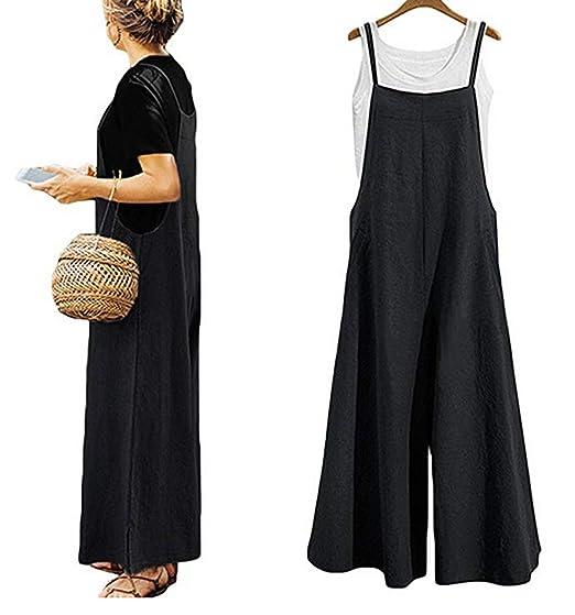 ab822389ca2e Amazon.com  Yoawdats Women Summer Loose Linen Suspender Overalls Jumpsuit  Bib Trousers Wide Leg Pants Plus Size  Clothing