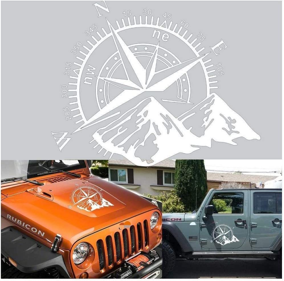 Xotic Tech Car Home Decor - Compass Rose with Mountains Vinyl Decal Sticker for Car Trunk Door Window Hood, Shop Window, White Reflective Silver