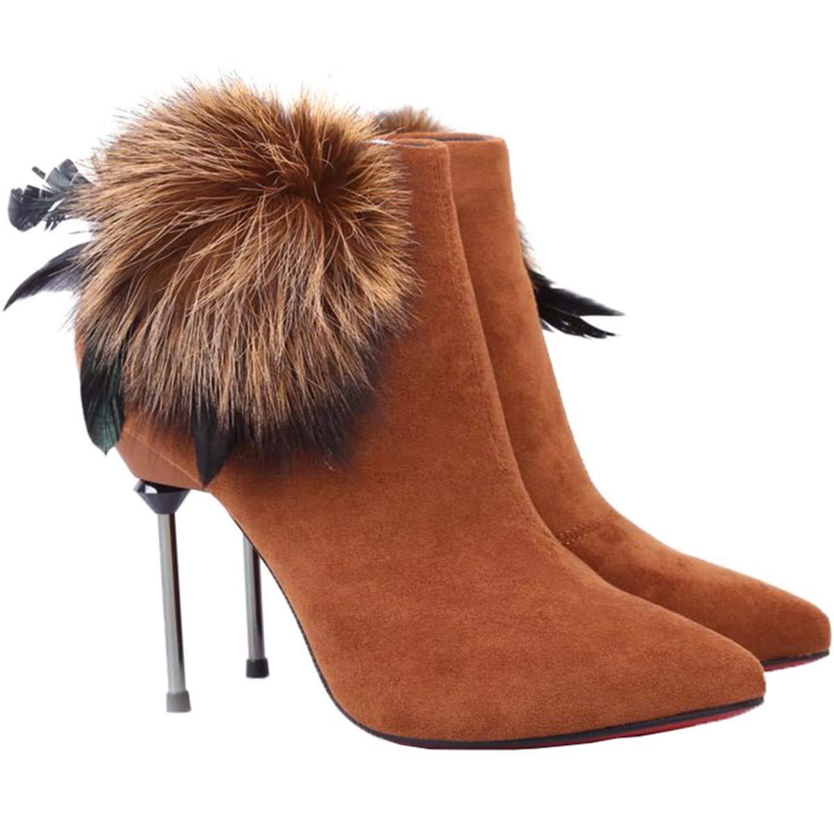 KPHY Damenschuhe Sexy Spitzen Kurze Stiefel Mit Hohen 10Cm Wild Schuhe Fein Hacken Hohe Stiefel Martin Stiefel Ohne Stiefel.