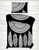 4 PC Set Doona Bedding Boho Indian Black And White Dream Catcher Bohemian Mandala Duvet Cover Reversible Doona Cover with 1 pc Tapestry Twin Size Bedsheet Elephant Mandala Wall Hanging Beach Throw & P