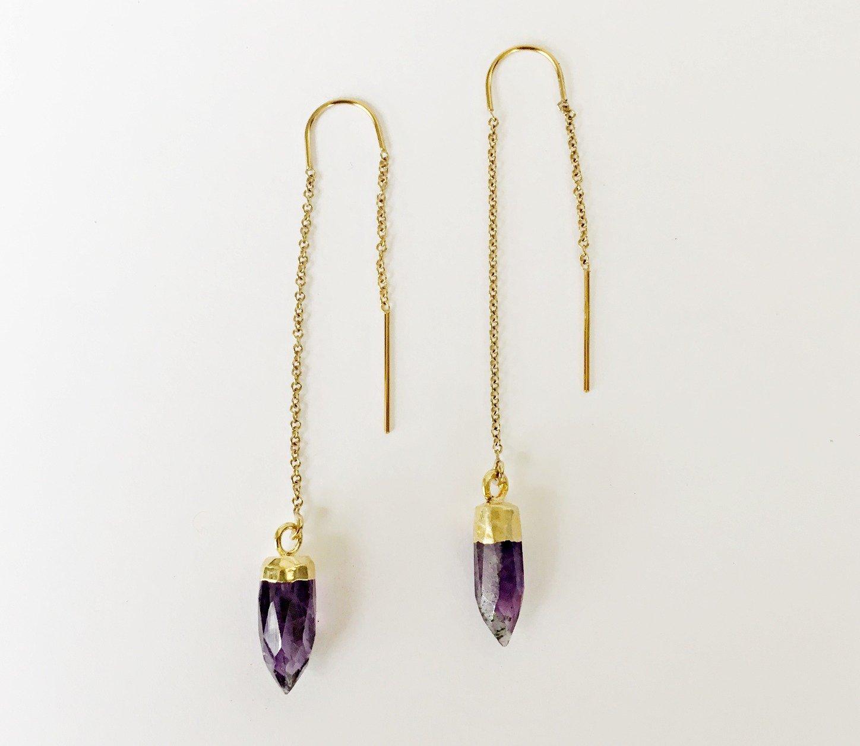 amethyst ear threader gold spike earrings threader earrings spike earrings