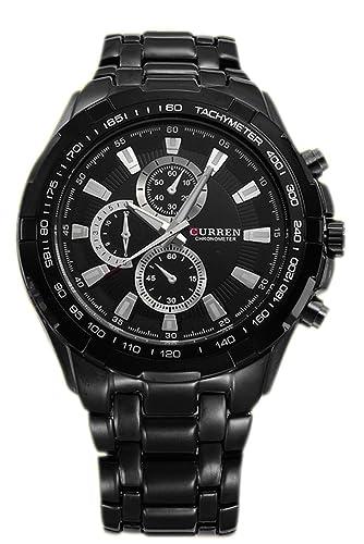 Reloj de hombre - CURREN Reloj de pulsera de acero inoxidable de hombre (Correa negra