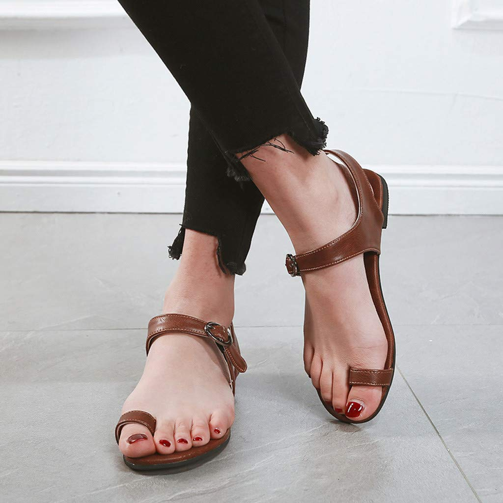 Women Beach Breathable Flat GoodLock Ladies Summer Buckle Strap Lazy Solid Color Sandals Hollow Rome Shoes Hot!
