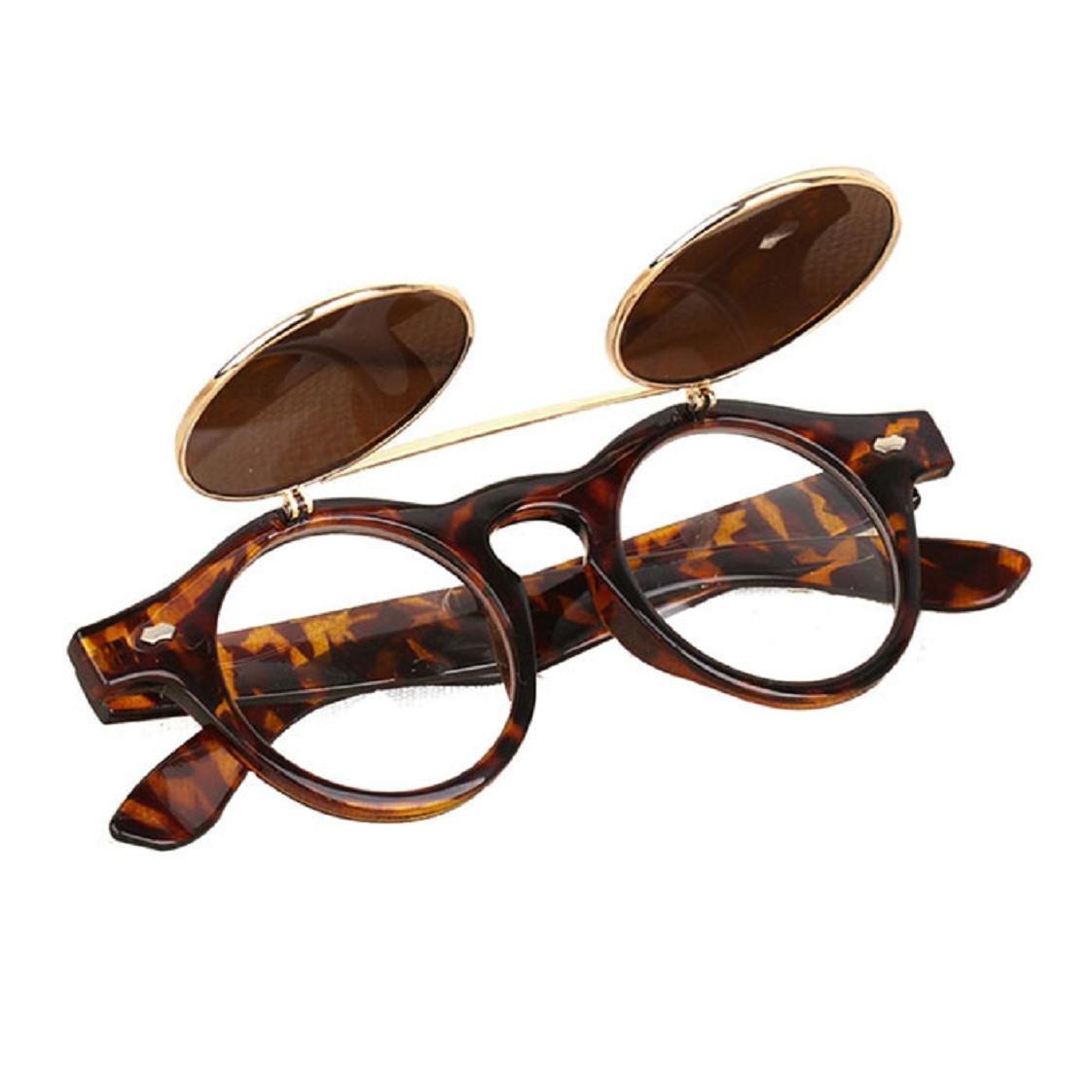 Mchoice Steampunk Goth Goggles Glasses Retro Flip Up Round Sunglasses Vintage (A)