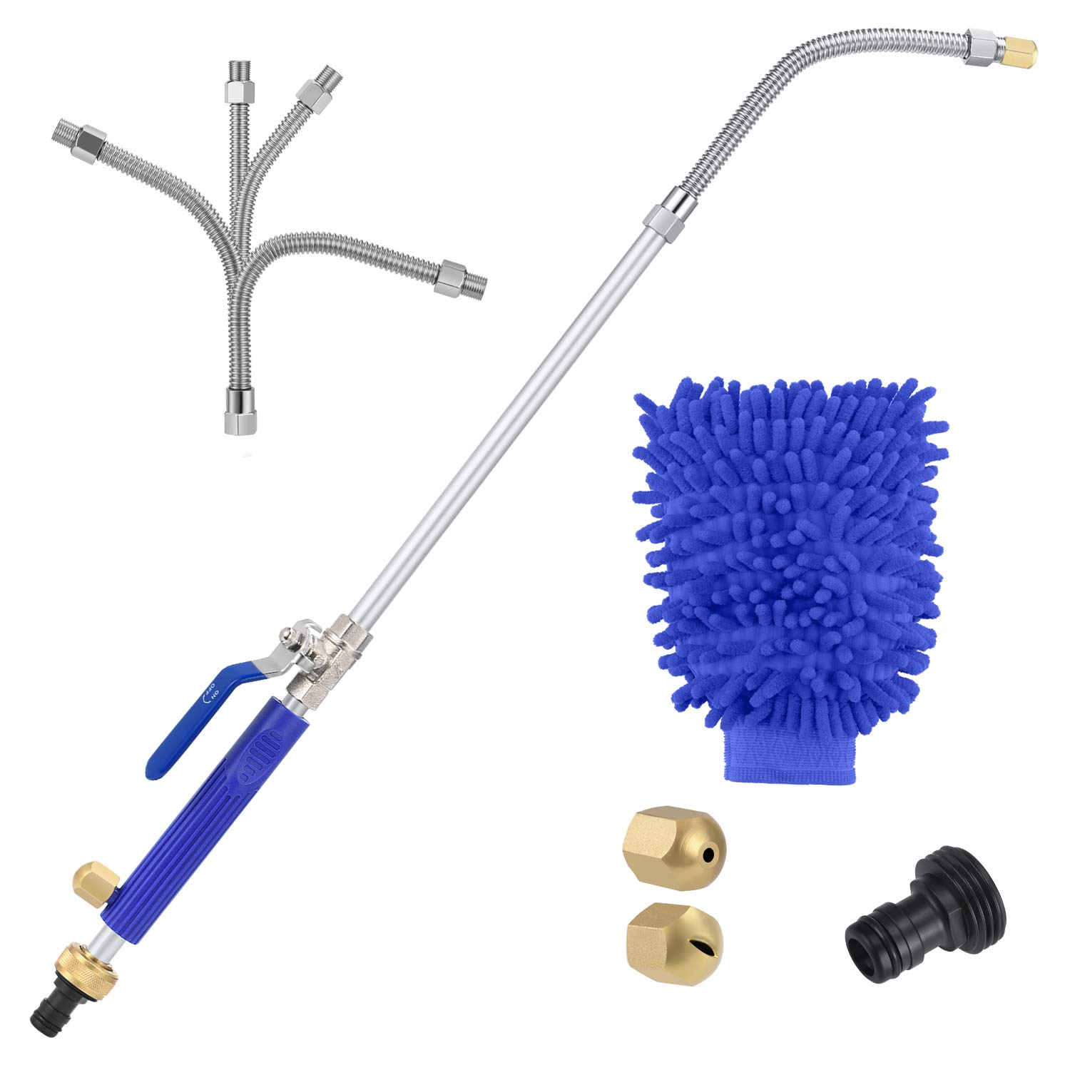 One Sight Hydro Jet Power Washer Wand High Pressure Flexible Garden Sprayer Magic Power Water Hose Nozzle, Watering Jet Cleaner for Car Window Washing, a Free Scrubbing Mitt, 2 Tips