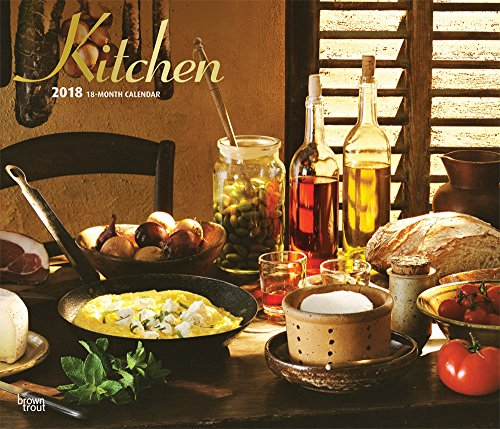 Kitchen 2018 14 x 12 Inch Monthly Deluxe Wall Calendar with Foil Stamped Cover, Cooking Home (English, French and Spanish Edition)