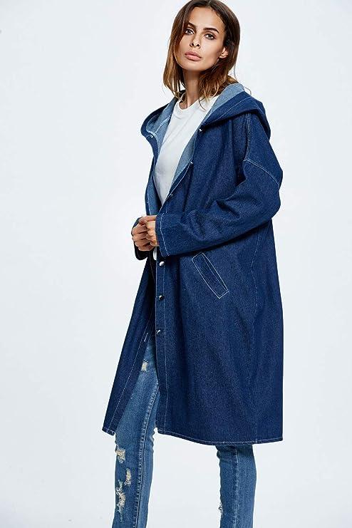 Damen Lange Jeansjacke Langarm Oversized BF Jeans Kapuze Windbreaker Loose  Fit Coat  Amazon.de  Bekleidung afb7e292ef