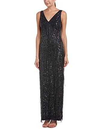 a16197ef Aidan Mattox V-Neck Beaded Fringe Sleeveless Evening Gown Dress at Amazon  Women's Clothing store: