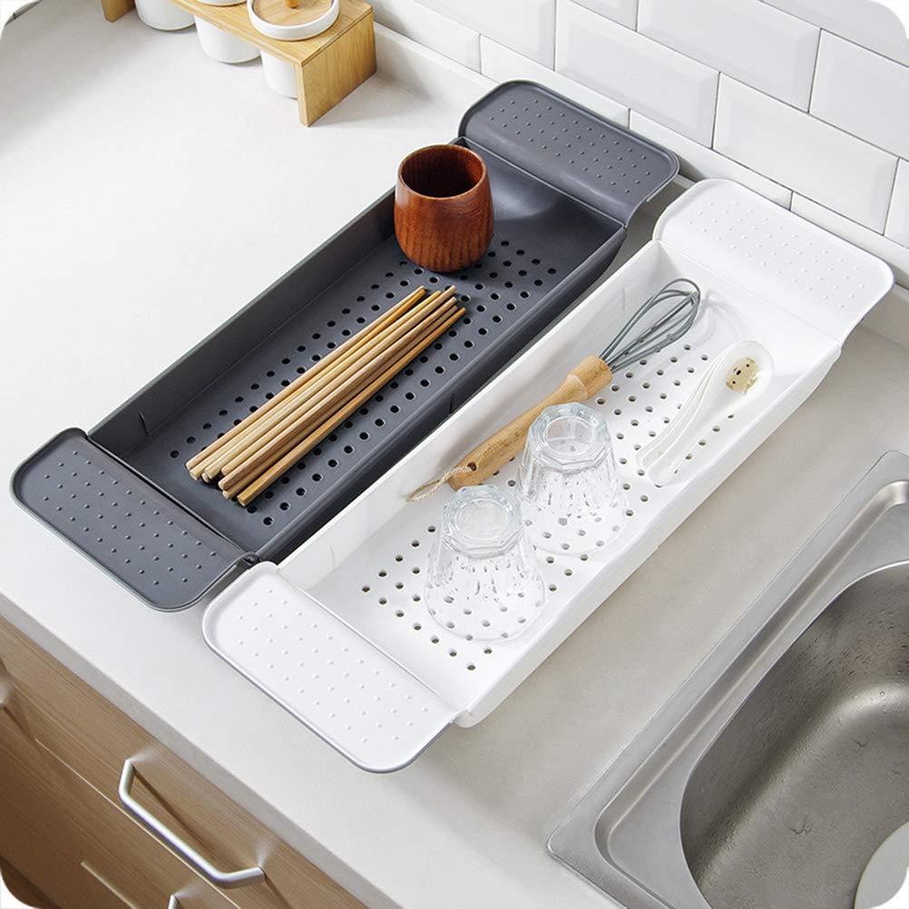 Yardwe Bathroom Trays Drain Scalable Bathtub Tray Hollow out Shower Organizer Plastic Storage Rack for Bathroom Toilet Black
