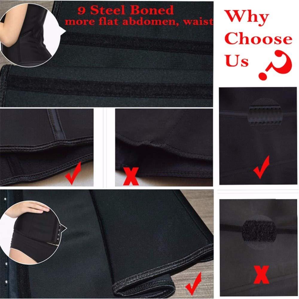 HeroStore 9pcs Steel Bone Waist Trainer Latex Shapewear Slimming Belt Waist Cincher Hot Body Shaper Girdle Workout Tummy Control for Women by HeroStore (Image #4)