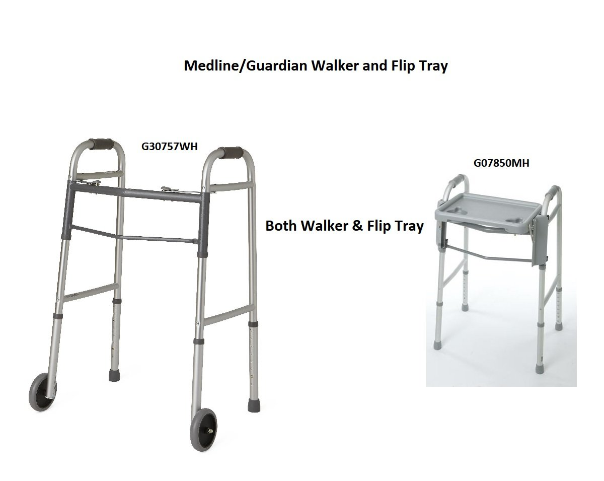 BOTH Guardian Two-Button Folding Walker with 5'' Wheels AND Walker Flip Tray