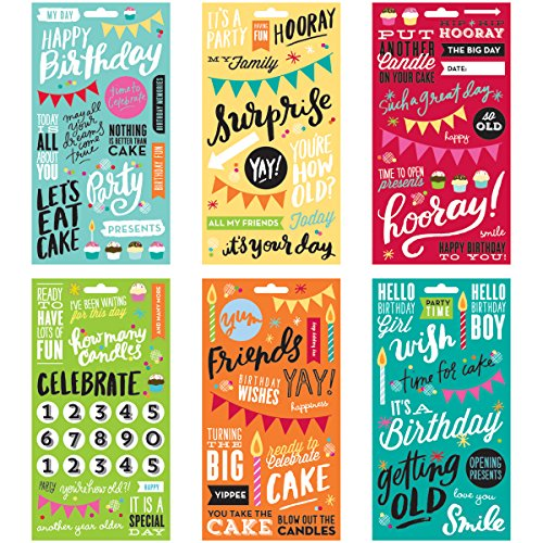Birthday Scrapbooking Stickers - Me & My Big Ideas Pocket Pages Clear Stickers, 6 Sheets/Package, Birthday