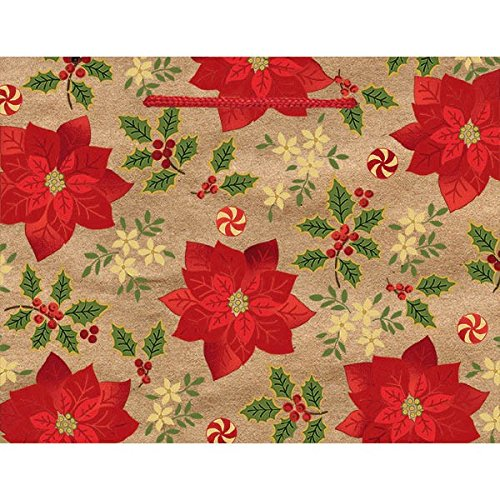 Christmas Poinsettia Medium Horizontal Kraft Gift Bag, Paper, 7