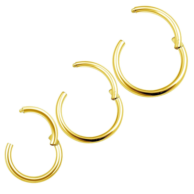 3Pcs Anodized 18 gauge 6mm 8mm 10mm hinged hoops Piercing Jewelry Septum Cartilage Helix Septum Tragus M1003