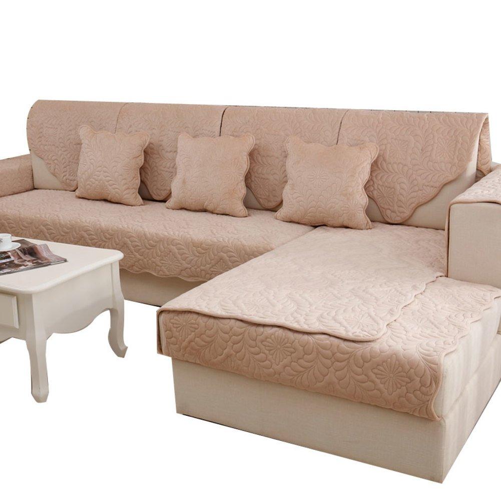 YANGYAYA Acolchado de Felpa,Antideslizante Color sólido Sofá Fundas Universales Todo Incluido Fundas de Toalla de sofá Protector de Muebles-D ...