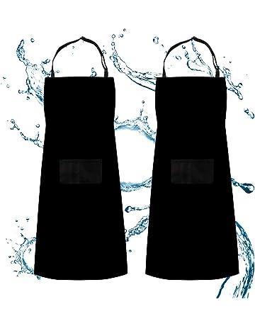 Delantal, delantal ajustable babero Waterdrop resistente con 2 bolsillos Cocina cocina jardinería barbacoa delantales,