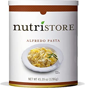 Nutristore Alfredo Pasta #10 Can | Premium Variety Ready to Eat Meals | Bulk Emergency Food Supply | Breakfast, Lunch, Dinner | MRE | Long Term Survival Storage | 25 Year Shelf Life