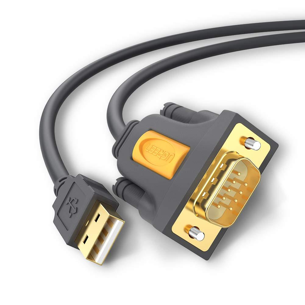 UGREEN 20210 Cable Adaptador Serie USB a RS232 DB9, USB a Puerto COM 9 PIN Con Chipset PL-2303 Profilic para Impresora y Otros dispositivos con Puerto ...