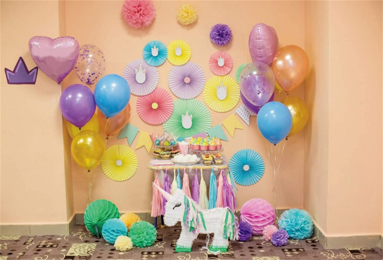 YEELE 1st Birthday Backdrop 10x7ft Paper Flowers Unicorn Interior Photography Background First Birthday Boys Girls Room Decoration Cake Smash Party Table Photobooth Props Digital Wallpaper