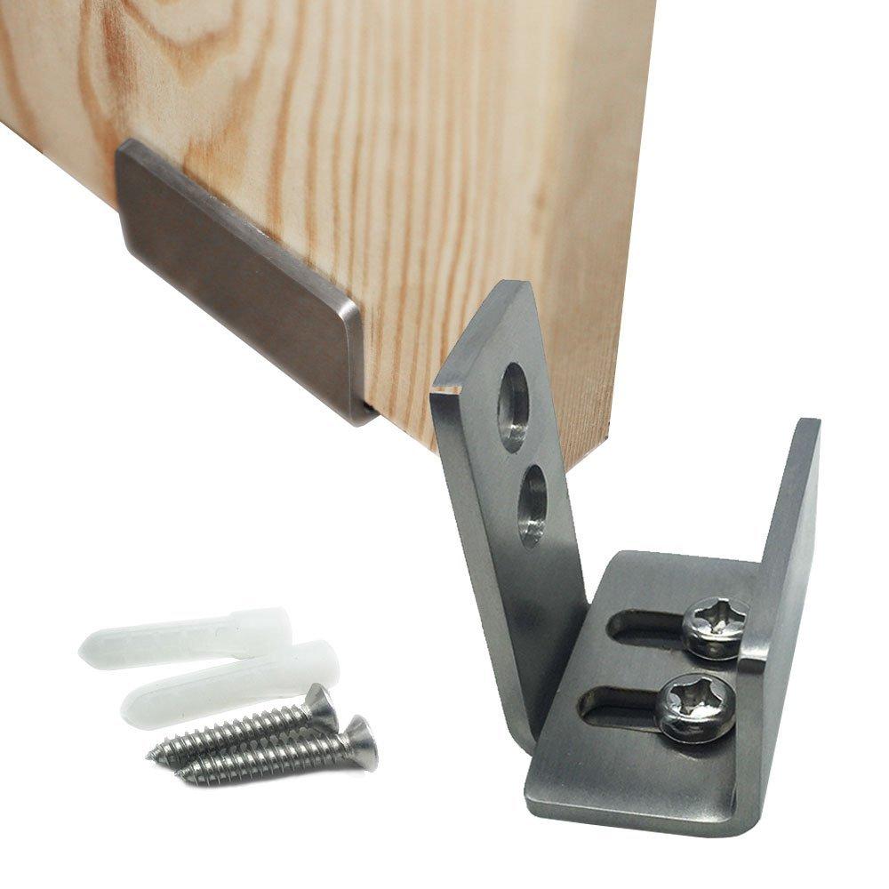 Barn Door Hardware Stainless Steel Floor Guide Roller Adjustable Wall Installation, Bottom Hardware kit Sliding Door Wall Guide Screw