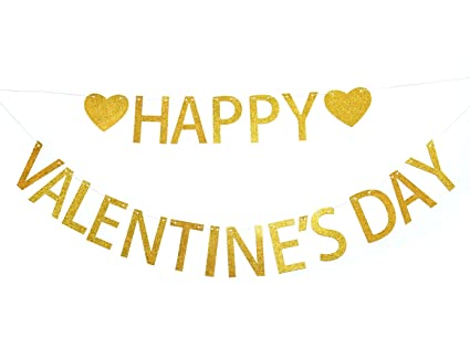 8a6509e5b1b3 Image Unavailable. Image not available for. Color: Happy Valentine's Day  Gold Glitter ...