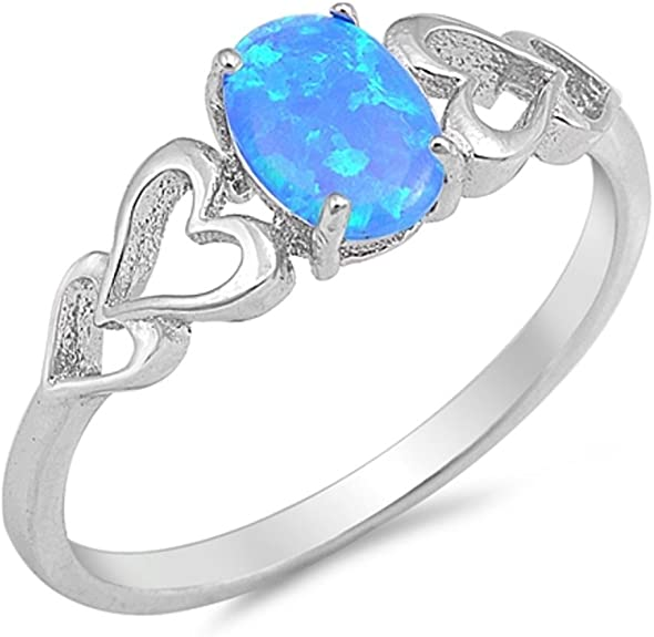 CloseoutWarehouse Blue Simulated Sapphire Stone Surrounded by Round Cubic Zirconia Heart Swirl Design Ring Sterling Silver
