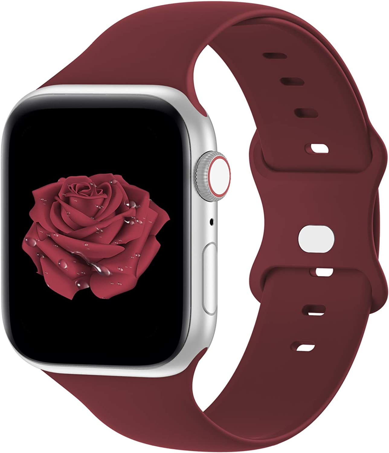 Bandiction Compatible with Apple Watch Series 3 38mm Series 5 40mm iWatch Bands 42mm 44mm Women Men, Soft Silicone Sport Replacement Strap Compatible for iWatch SE Series 6 5 4 3 2 1, Sport Edition