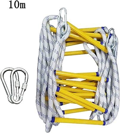 Escaleras de evacuación Escalera de Cuerda de Emergencia Contra Incendios, Escalera de Seguridad Única Resistente a Las Llamas con Ganchos, Cable de Seguridad Compacto y Reutilizable y Arnés de Cuerpo: Amazon.es: Hogar