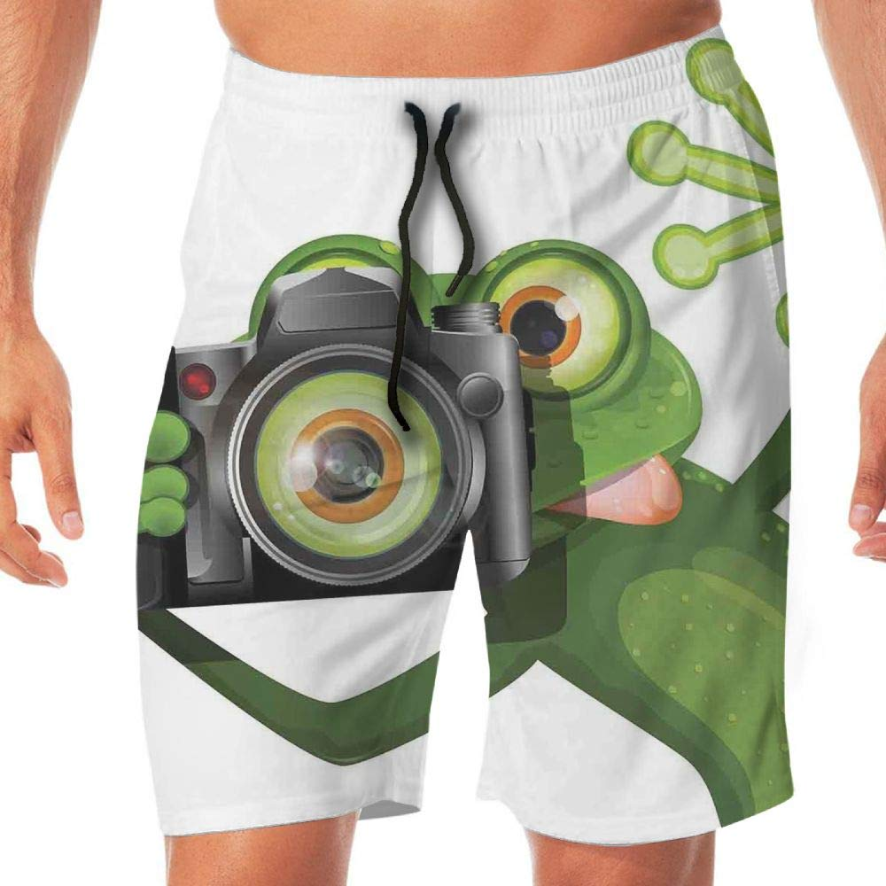 Haixia Men's Adjustable Boardshorts Animal Decor Photographer Merry Green Frog